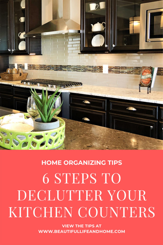 Follow these 6 Steps to Declutter Kitchen Counters and you'll love your kitchen again! Learn how to banish paper and decorations, and what to do if people keep leaving their stuff on the counter!