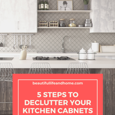 Home organizing tips to declutter your kitchen cabinets.