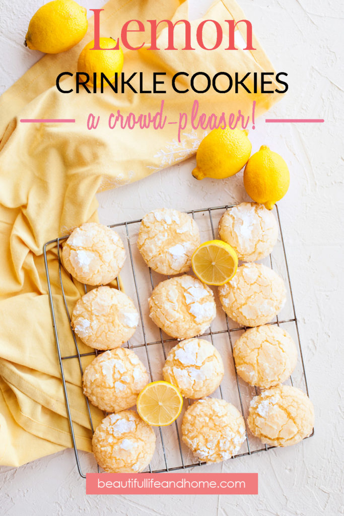 """These addictive Lemon Crinkle Cookies will disappear before your very eyes! Great lemon flavor paired with perfectly sweet cookies. If you love lemon, these cookies are next on your """"to bake"""" list!"""
