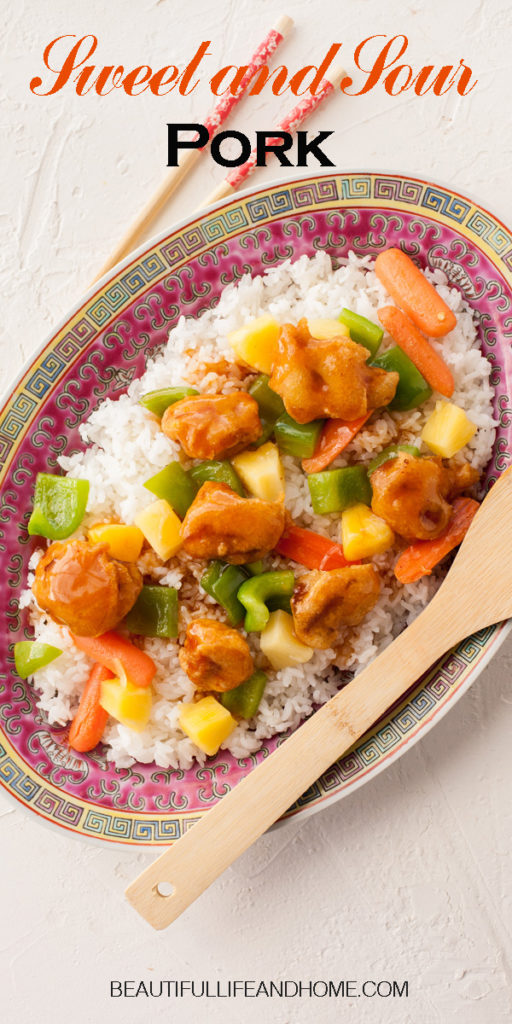 The best home made Chinese Sweet and Sour Pork! Get my tips and tricks for perfectly crispy pork, smothered in a delectable sauce with pineapple and peppers. Better than takeout!