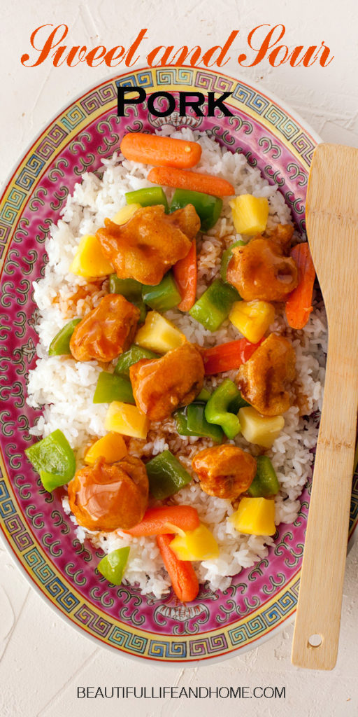 Home made authentic Chinese Sweet and Sour Pork! Get my tips and tricks for perfectly crispy pork, smothered in a delectable sauce with pineapple and peppers. Better than takeout!