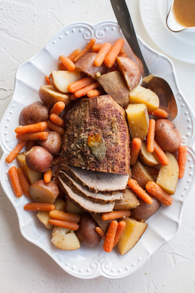 Pot roast recipe in the oven. Just as easy as in the crock pot, but even more tender and delicious!