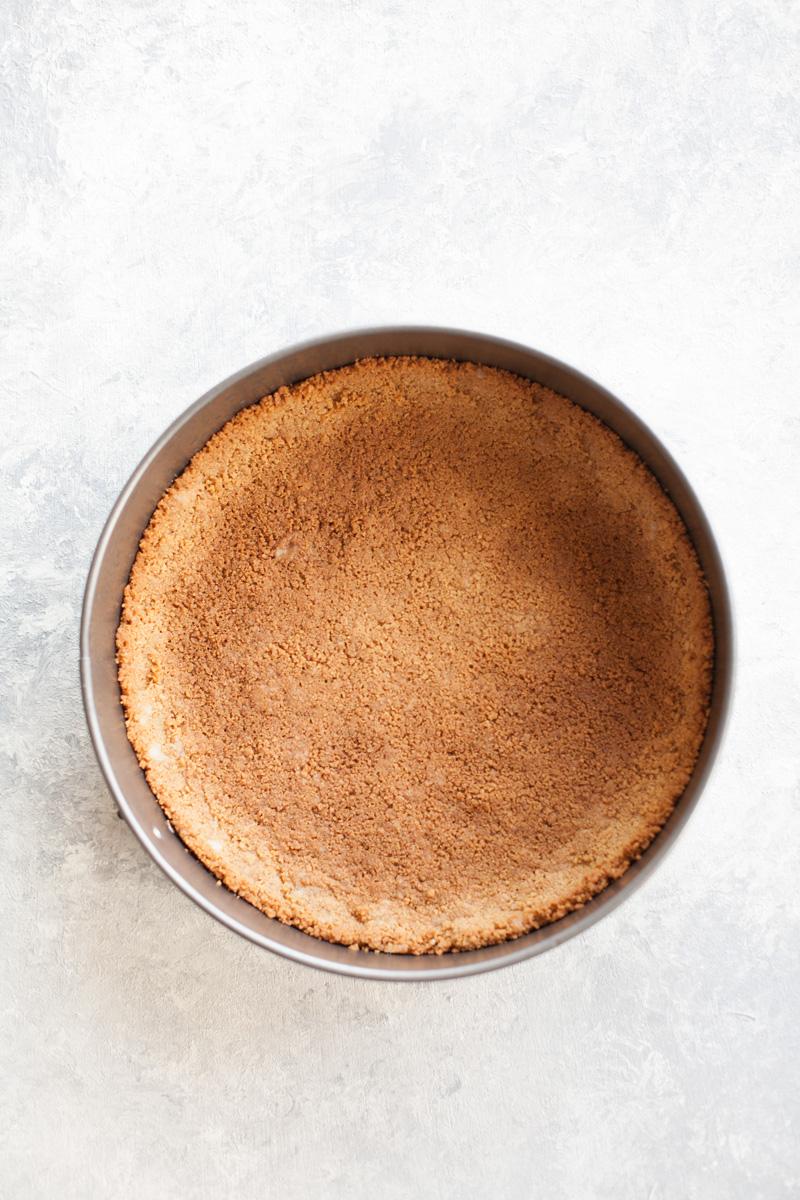 Graham cracker crust for Lemon Cheesecake.