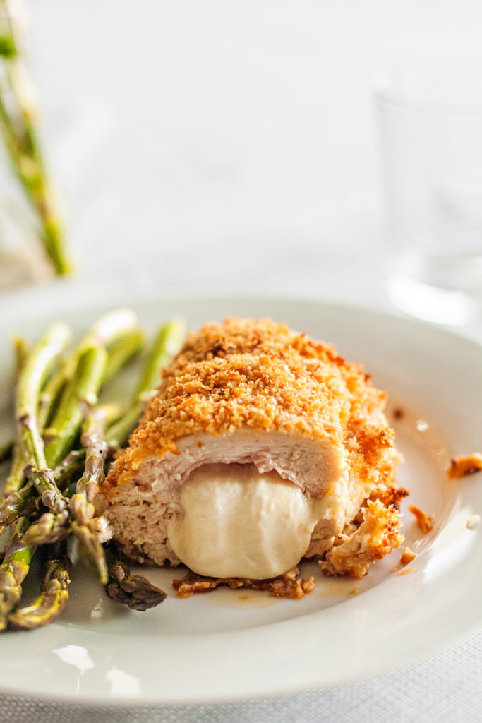 Plated Chicken Cordon Bleu with Asparagus side dish