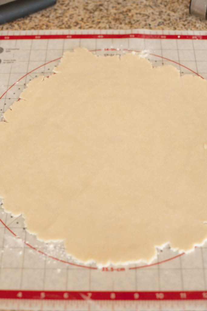 Rolled out pie crust dough