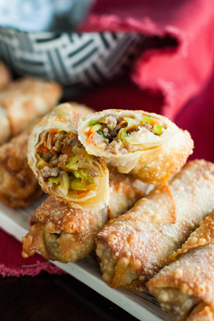 Crispy pork egg rolls filled with savory pork and vegetables.