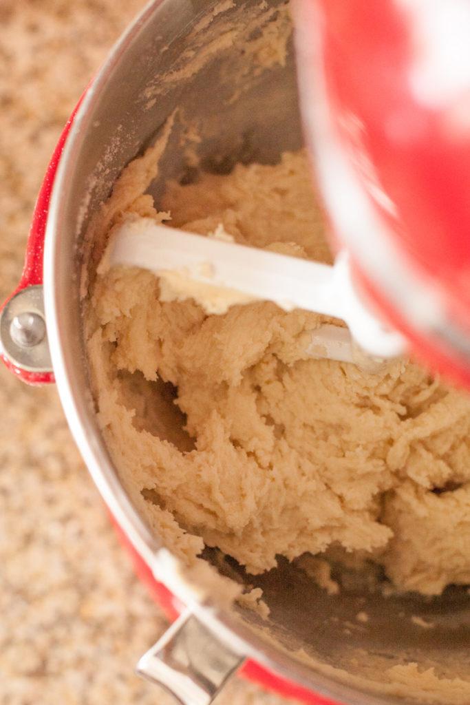 Reverse creaming method. Results look like wet cookie dough.