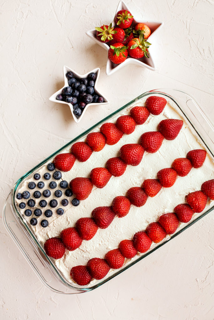4th of July cake with strawberries and blueberries