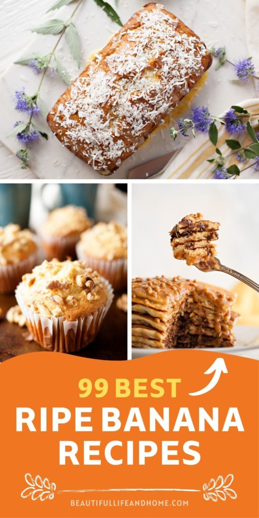 """Here are 99 delicious recipes to help you use up all your brown bananas! Turns out, there are TONS of things you can make with extra bananas! From banana muffins, to banana """"nice"""" cream, to pancakes, cookies, cakes, shakes, and more, there is a neverending supply of recipes that use brown, spotty, or frozen bananas!"""