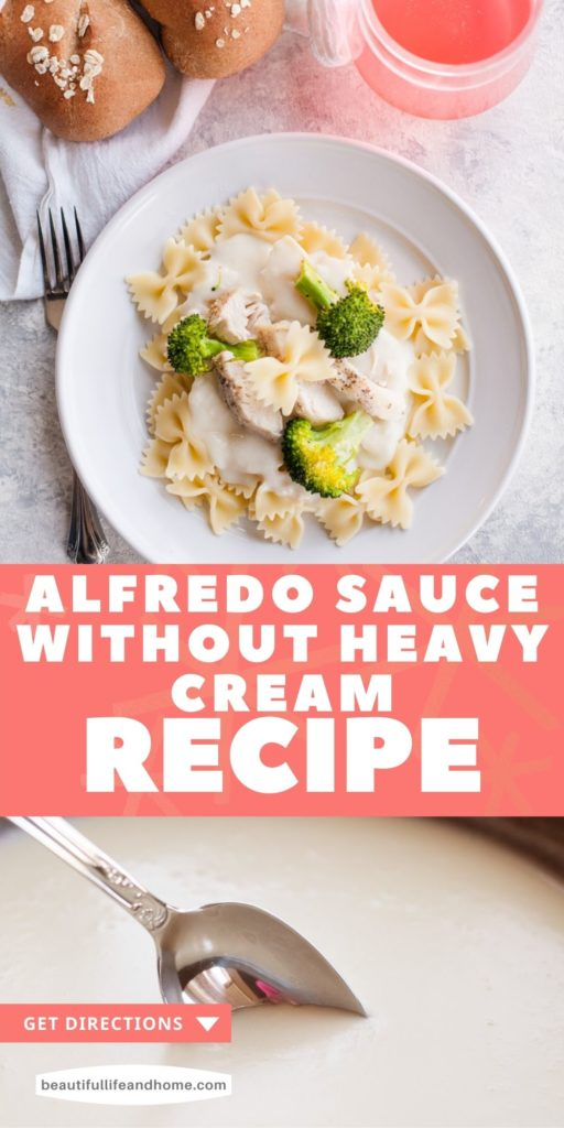 This easy homemade Alfredo sauce tastes just like the Alfredo from Olive Garden. The best part? No heavy whipping cream! Just use regular milk (whole milk, skim milk, or 2%--it doesn't matter) for this creamy white sauce that goes perfectly with bow tie or fettuccine noodles. Add some chicken and broccoli for a quick and easy dinner!